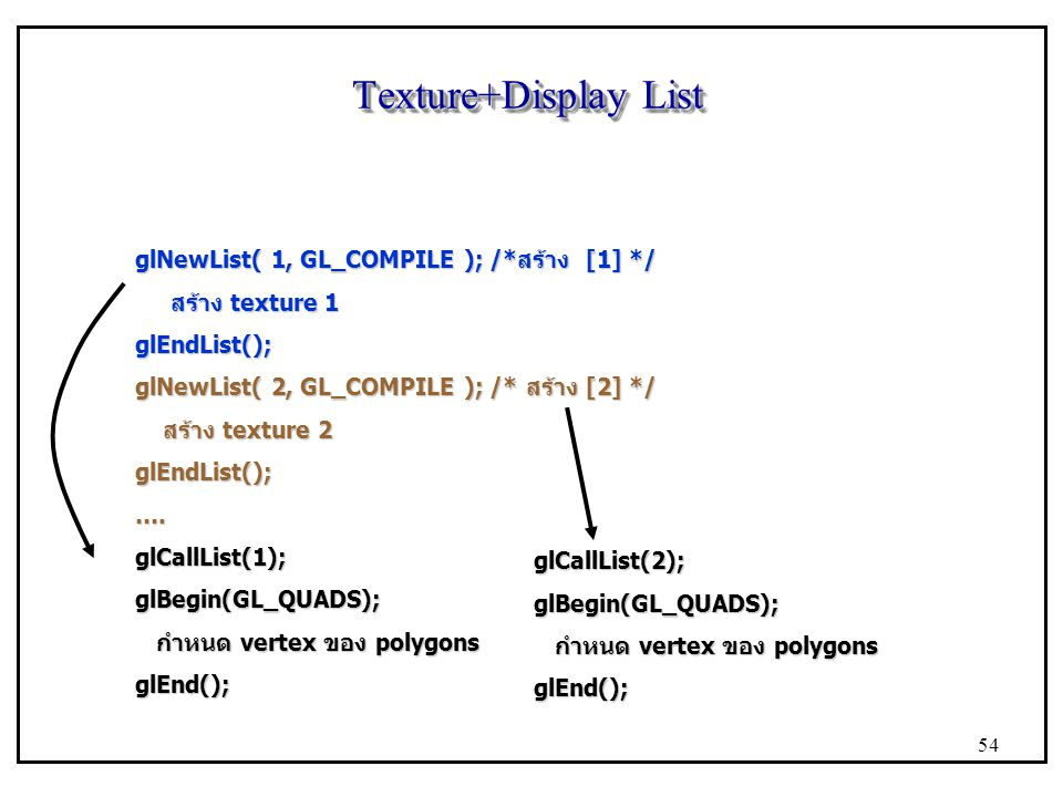 Texture+Display List glNewList( 1, GL_COMPILE ); /*สร้าง [1] */